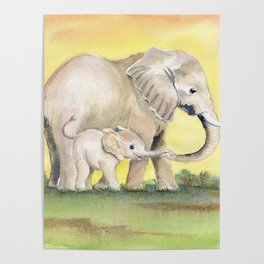Colorful Mom and Baby Elephant 2 Poster
