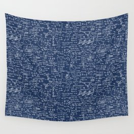 Physics Equations // Navy Wall Tapestry