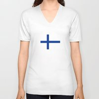 finland V-neck T-shirts featuring Finland country flag by tony tudor