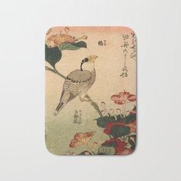 Hokusai,Hawfinch and mirabilis - manga, japan,hokusai,japanese,北斎,ミュージシャン Bath Mat