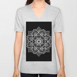 White Mandala On Black Unisex V-Neck