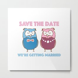 Save The Date (Owls In Love) Metal Print