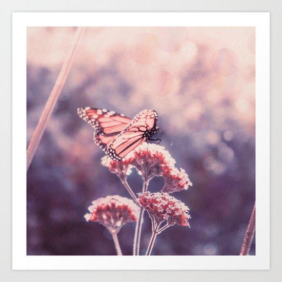 Butterfly Kisses, Dusty Purple Bokeh Background Art Print