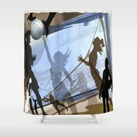 volleyball Shower Curtains featuring Anyone For Volleyball? by Robin Curtiss