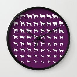 All Dogs (Plum) Wall Clock