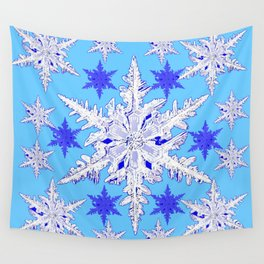 BABY BLUE SNOW CRYSTALS BLUE WINTER ART DESIGN Wall Tapestry