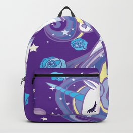Magical Unicorn in Purple Sky Backpack