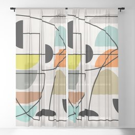 "Mid Century Modern ""Bowls"" Sheer Curtain"