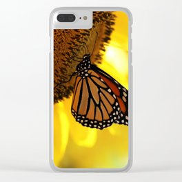 Monarch Sunflower Clear iPhone Case