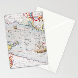 Vintage Map of The Pacific Ocean (1595) Stationery Cards