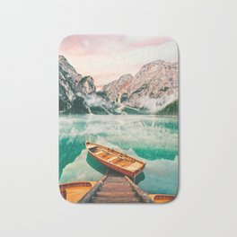 Boats on the lake Bath Mat