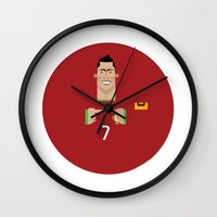 ronaldo Wall Clocks featuring Cristiano Ronaldo Portugal Illustration by Gary  Ralphs Illustrations