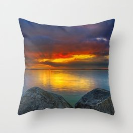 Stormy Tropical Sunset Sea Throw Pillow