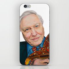 SIR DAVID ATTENBOROUGH 2015 71cm x 49cm Prismacolor & Mixed Media iPhone & iPod Skin