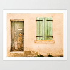 Green wooden door and shuttered window Art Print