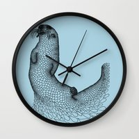 otter Wall Clocks featuring Otter by Julia Kisselmann