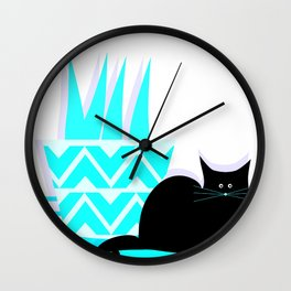 Cat with potted plant Wall Clock