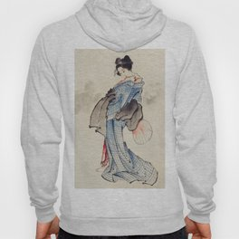 Japanese Ukyio-e style illustration of a Japanese woman in kimono,  Japan old art Hoody