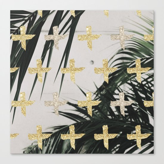 Palms with gold cross Canvas Print