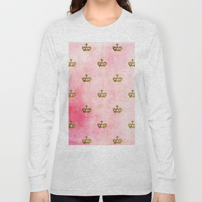 Royal Heraldy Gold crowns on pink watercolor background on #Society6 Long Sleeve T-shirt