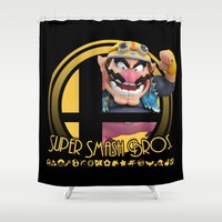 super smash bros Shower Curtains featuring Wario - Super Smash Bros. by Donkey Inferno