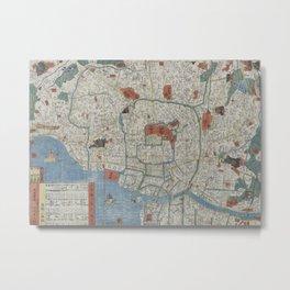 Vintage Map of Tokyo Japan (1850) Metal Print