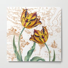 Yellow Vintage Tulips Metal Print