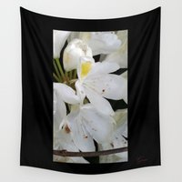 waldo Wall Tapestries featuring White Flowers by Geni