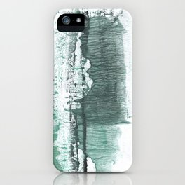Gray green stained watercolor texture iPhone Case
