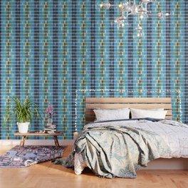 Retro Blue Pattern Wallpaper