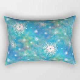 Blues Rainbow Florals Rectangular Pillow