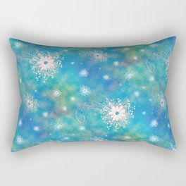 Blues Rainbow Florals Rectangular Pillow