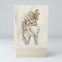 gold tutankhamon mask hand drawn Mini Art Print