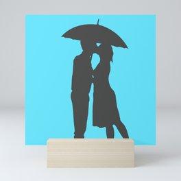 Couple Kissing In Rain Simple Man & Woman Blue & Gray Art Wedding Love Theme Mini Art Print