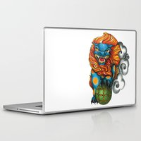 foo fighters Laptop & iPad Skins featuring Foo Dog by missfortunetattoo