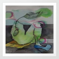 blue shoe Art Print