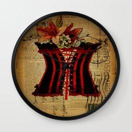 elegant girly lily flower newspaper print  black red corset Wall Clock