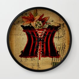 elegant girly lily flower newspaper print  black red corset Wall Clock
