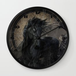 Gothic Friesian Horse Wall Clock