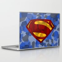 man of steel Laptop & iPad Skins featuring MAN OF STEEL by thebuffaloarmy