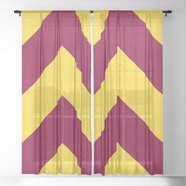 Sunnydale High Chevron (Maroon & Gold Diagonal Stripe Pattern) Sheer Curtain