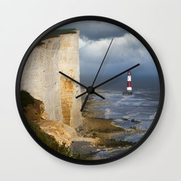 White and red lighthouse Wall Clock