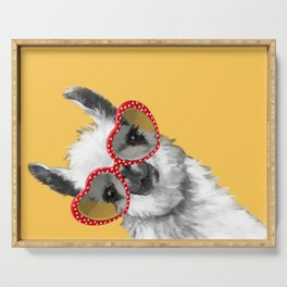 Fashion Hipster Llama with Glasses Serving Tray