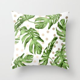 Simply Tropical White Gold Sands Dots and Palm Leaves Throw Pillow