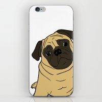 pug iPhone & iPod Skins featuring PUG by Elena O'Neill