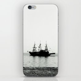 ships on a calm sea black and white iPhone Skin