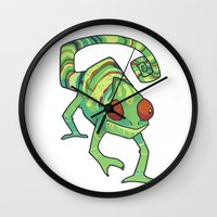 chameleon Wall Clocks featuring Chameleon by Suzanne Annaars