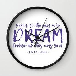 LA LA LAND Quote Wall Clock