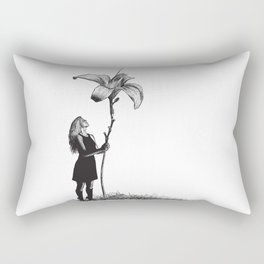Beautiful young Woman and giant flower Rectangular Pillow