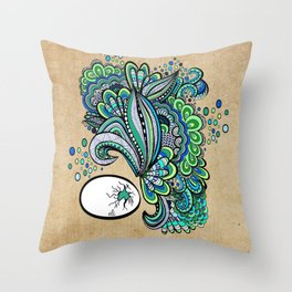 Hatched ~ a green doodle Throw Pillow